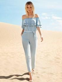 Womens Blue Tencel Double Frill Jumpsuit
