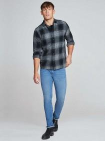 Mens Black Check Flannel Long Sleeve Shirt
