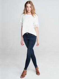 Womens White Lace Trim T-Shirt