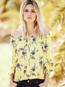 Womens Yellow Floral Button Through Bardot Top