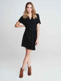 Womens Black Button Up Belted Dress