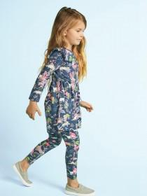 Younger Girls Blue Dinosaur Dress