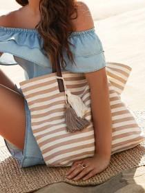 Womens Stone Stripe Canvas Tote Bag