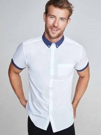 Mens White Short Sleeve Contrast Collar Shirt