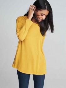 Womens Mustard Yellow Eyelet Side Top