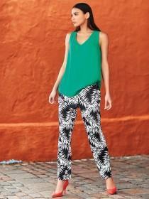 Womens Monochrome Leaf Print Satin Trousers