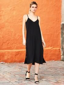 Womens Black Popper Slip Dress