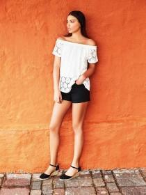 Womens White Lace Bardot Top