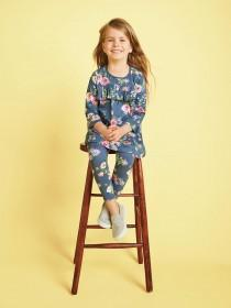 Younger Girls Blue Floral Leggings