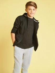 Older Boys Black Zip Up Hoody