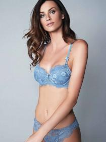 Womens Pale Blue Daisy Lace Bra
