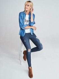 Womens Blue Rip Skinny Jeans