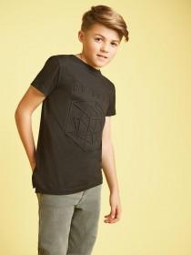 Older Boys Black Embossed T-Shirt