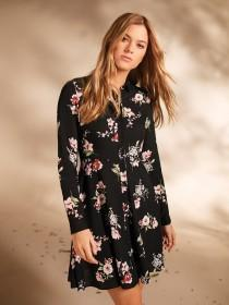 Womens Floral Button Through Shirt Dress