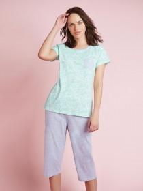 Womens Aqua Leopard Short Sleeve Pyjamas
