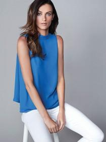 Womens Blue Split Back Blouse