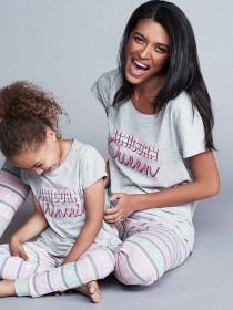Womens Grey Unicorn Slogan Pyjama Set