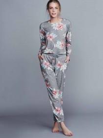 Womens Grey Floral Soft Touch Pyjama Bottoms