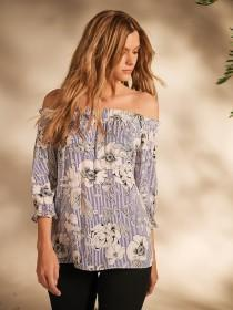 Womens Blue Floral Stripe Bardot Top