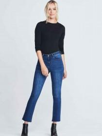 Womens Dark Blue Cropped Bootcut Jeans