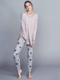 Womens Grey Star Pyjama Leggings