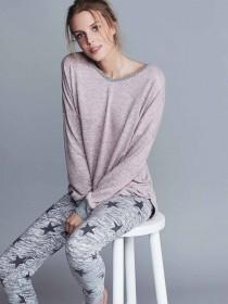 Womens Pink Snow Yarn Lounge Top