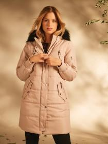 Womens Beige Padded Coat