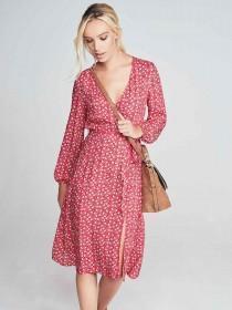 Womens Red Floral Wrap Midi Dress