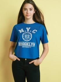 Older Girls Blue Slogan T-Shirt