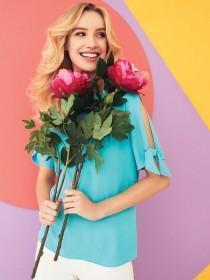 Womens Turquoise Tie Sleeve Top