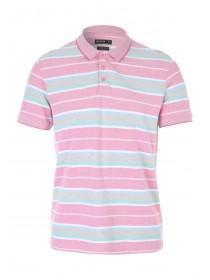 Mens Pink Stripe Pique Polo Shirt