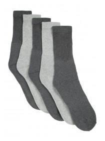 Mens 5pk Grey Sports Socks
