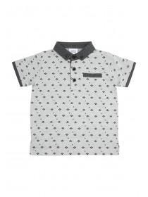 Younger Boys All Over Print Grey Polo
