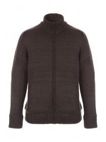 Mens Dark Brown Sherpa Knitted Jacket