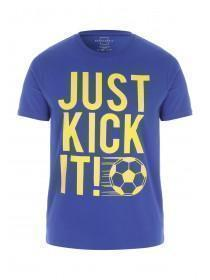 Mens Blue Football Slogan T-Shirt