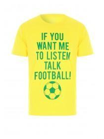 Mens Yellow Football Slogan T-Shirt
