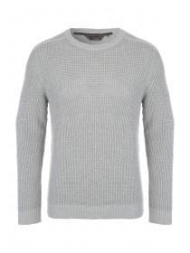 Mens Grey Waffle Cable Knitted Jumper