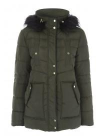 Womens Khaki Padded Parka Coat with Faux Fur Trim Hood