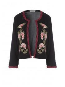 Womens Black Mesh Embroidered Trophy Jacket