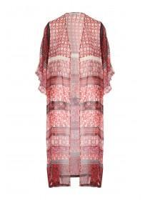 Womens Floral Lace Trim Maxi Kimono