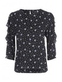 Womens Black Lace Insert Top
