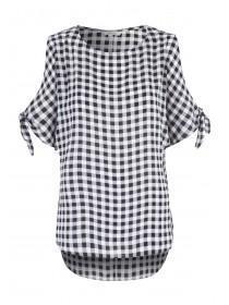 Womens Black Gingham Split Sleeve Top