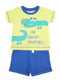 Baby Boys Yellow Crocodile T-Shirt & Shorts Set