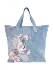 Womens Dark Blue Embroidered Shopper Bag