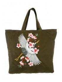 Womens Khaki Embroidered Shopper Bag