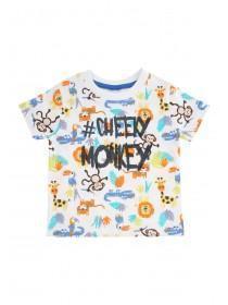 Baby Boys White Cheeky Monkey T-Shirt