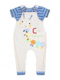 Baby Boys Grey Dungaree & Short Sleeve T-Shirt