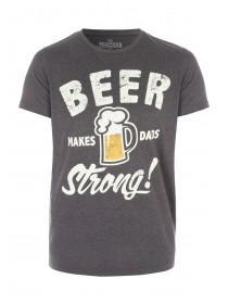 Mens Charcoal Beer Makes Dad Strong T-Shirt