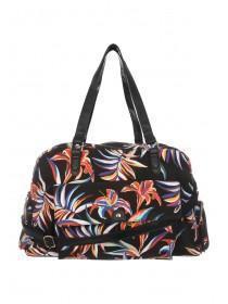 Womens Black Floral Printed Luggage Bag