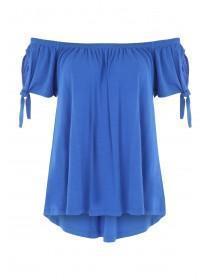 Womens Blue Knot Sleeve Bardot Top